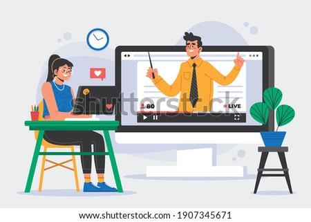 Communication, Meeting, Online Class, dialog, conversation on an online forum and internet chatting concept. Vector illustration. Relationship, Devices, Shapes, Laptop, Flat Illustration, Teacher, Onl