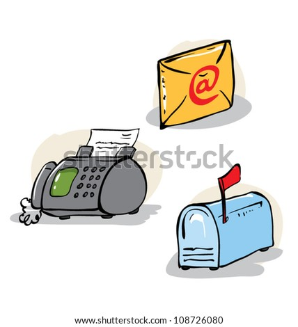 Communication objects set - stock vector