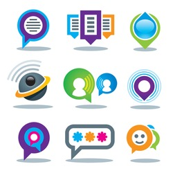 Communication of social people in world community media logo and internet network service icon set