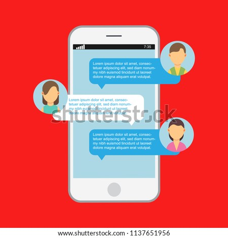 Communication online chat. Web notification messenger mobile speech isolated. App website dialog phone vector. Display message on device screen. Social bubble discussion smartphone application media.