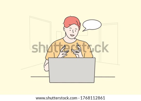 Communication, online, recruitment concept. Young man boy student character working remotely talking on job interview. Employment or business recruiting management or human resources online and hiring
