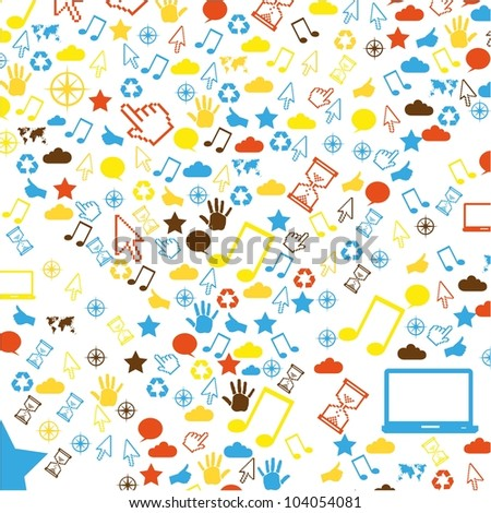 Communication pattern icons isolated on white background, vector illustration