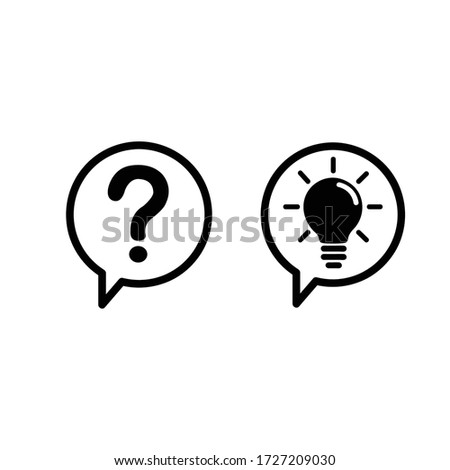 communication question and idea icon isolated on white background. vector illustration. Foto stock ©