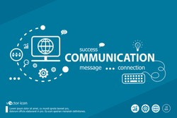 Communication related words and marketing concept. Infographic business. Project for web banner and creative process.