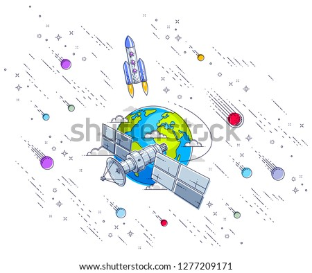 Communication satellite flying orbital spaceflight around earth, spacecraft space station with solar panels and satellite antenna plate, with rockets, stars and other elements. Vector.