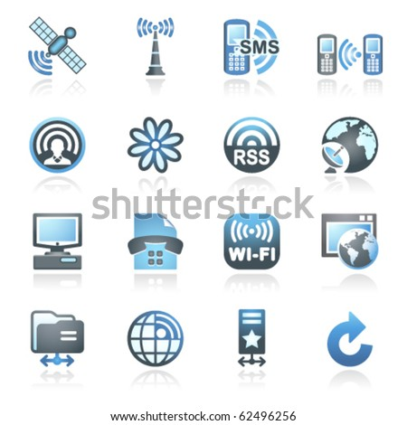 Communication set 2. Gray and blue series. - stock vector