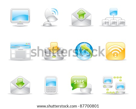 communication shiny icons and logo