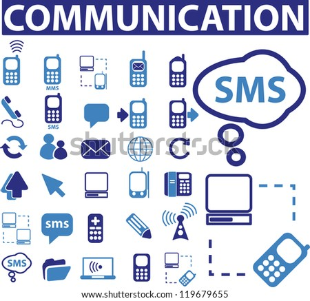 communication signs, icons set, vector
