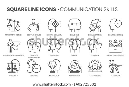 Communication skills related, square line vector icon set for applications and website development. The icon set is pixelperfect with 64x64 grid. Crafted with precision and eye for quality.