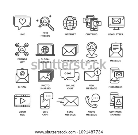 Communication. Social media. Online chatting. Phone call, app messenger. Mobile,smartphone. Computing.Email. Thin line black web icon set. Outline icons collection. Vector illustration. #1091487734