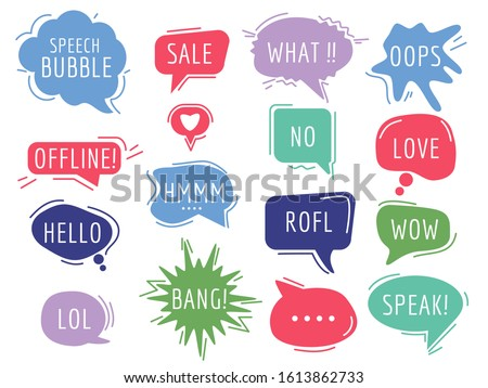 Communication tags. Cartoon speech bubbles with humor phrase text sound handdrawn vector balloons