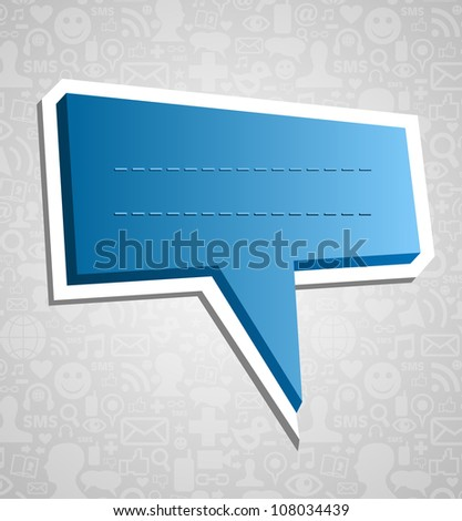 Communication talk bubble over social media icons texture background. Vector file layered for easy manipulation and customisation.