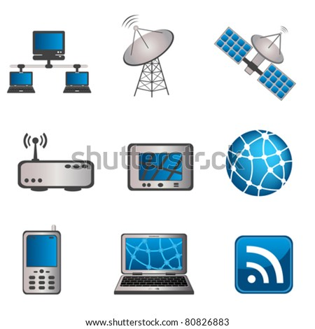 Communication, technology and computer icon set - stock vector