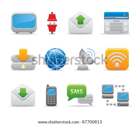 Communication technology internet logos icons set business