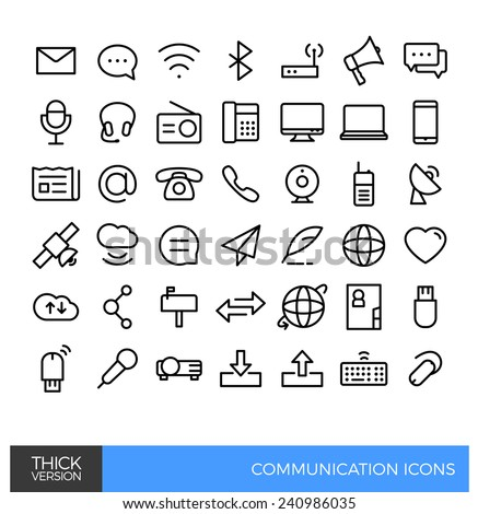 Communication Thick line icons