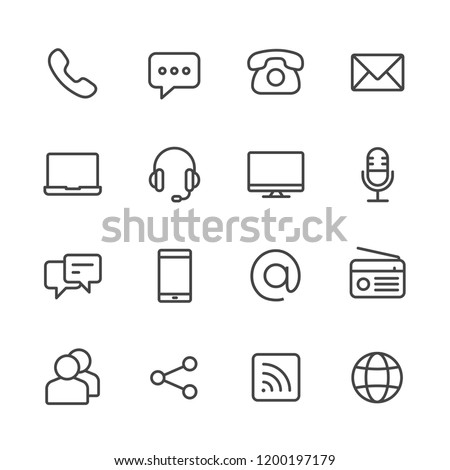 Communication vector line icon set
