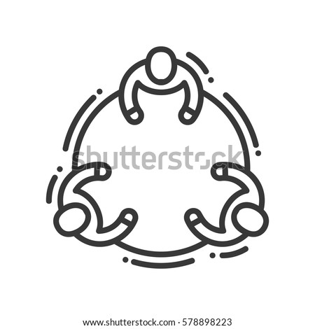 Communication - vector modern line design illustrative icon. Three people interacting, sharing ideas sitting at the round table.