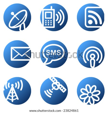 Communication web icons, blue circle series