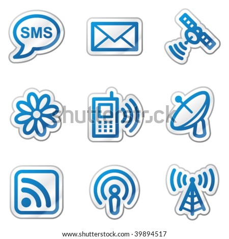 Communication web icons, blue contour sticker series