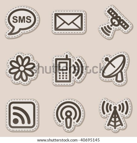 Communication web icons, brown contour sticker series