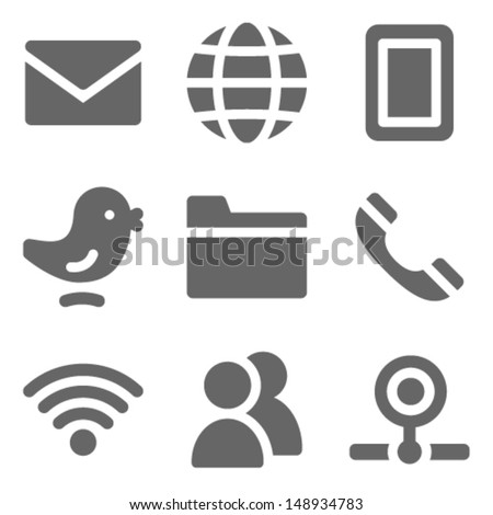Communication web icons, grey solid series