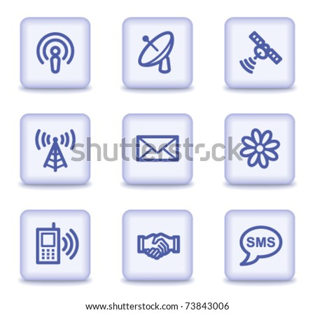 Communication web icons, light violet glossy buttons