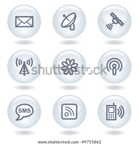 Communication web icons, white circle buttons