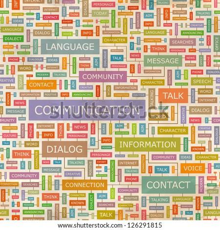 COMMUNICATION. Word collage. Seamless illustration.