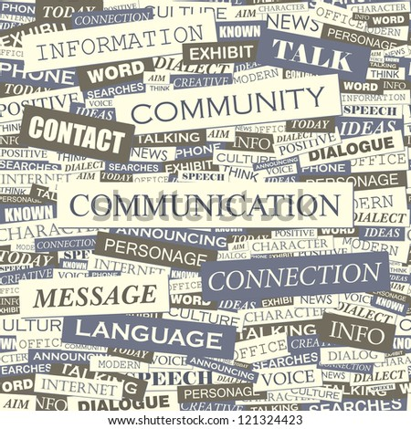 COMMUNICATION. Word collage. Vector seamless illustration.