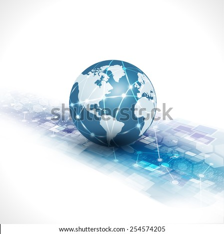 communication world & technology business  flow motion isolate white background, vector illustration