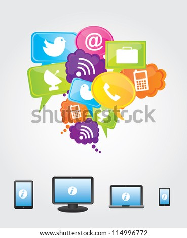 Communications and cloud computing icons over white background