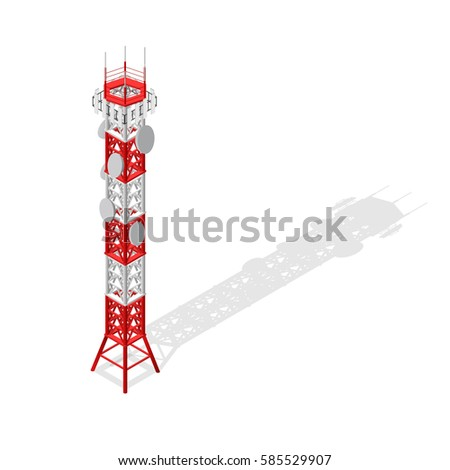 Communications Tower Mobile Phone Base or Radio for Wireless Connections Isometric View. Vector illustration