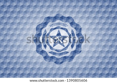 communism icon inside blue emblem or badge with abstract geometric pattern background.