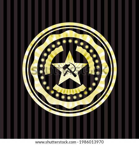 communism icon inside gold