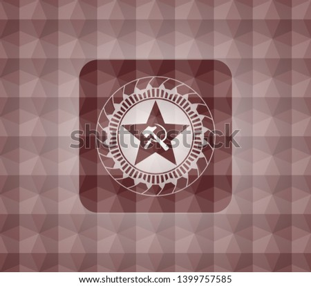 communism icon inside red seamless badge with geometric background.