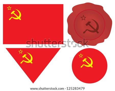 communist cccp flag with hammer