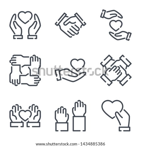 Community and Partnership related line icons. Help and Support vector icon set.