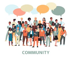 Community banner - diverse crowd of cartoon people standing and talking to each other isolated on white background. Speech bubble cloud over big group - flat vector illustration.