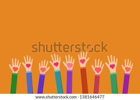 Community charitable work symbol flat illustration. Cartoon hands holding hearts on orange background. Charity fund, volunteering, fundraising organization uniting efforts for humanitarian aid