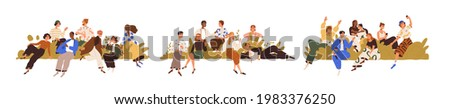 Community concept. Set of diverse people's groups. International societies, social networks, teams and unions of different generations. Flat graphic vector illustration isolated on white background