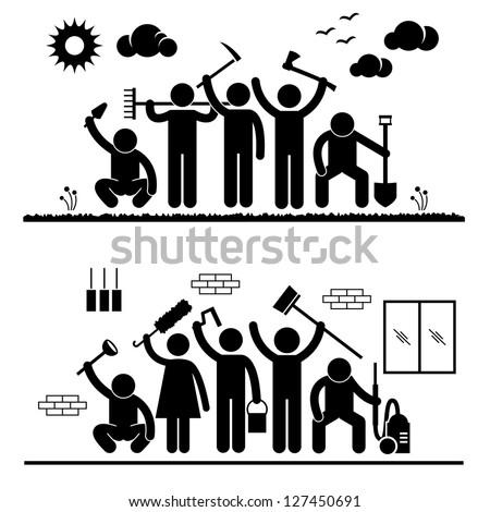 Community Effort People Humanity Volunteer Group Cleaning Outdoor Park Indoor House Stick Figure Pictogram Icon