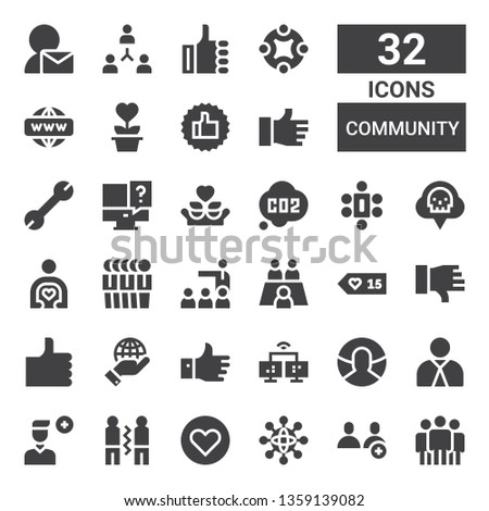 community icon set. Collection of 32 filled community icons included Team, Users, Networking, Like, Friendship, Add user, Employee, User, Network, Dislike, Likes, Meeting, Friend