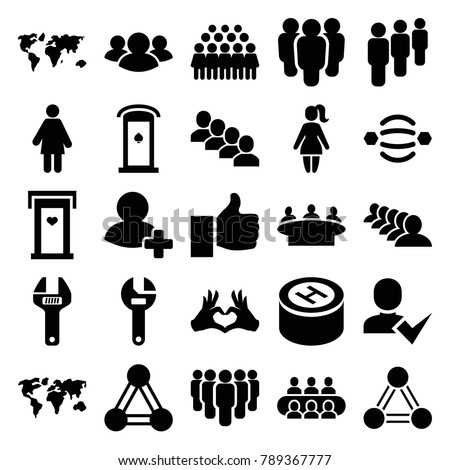 Community icons. set of 25 editable filled community icons such as connection, door with heart, group, wrench, world map, woman, atom interaction, heart tag, thumb up