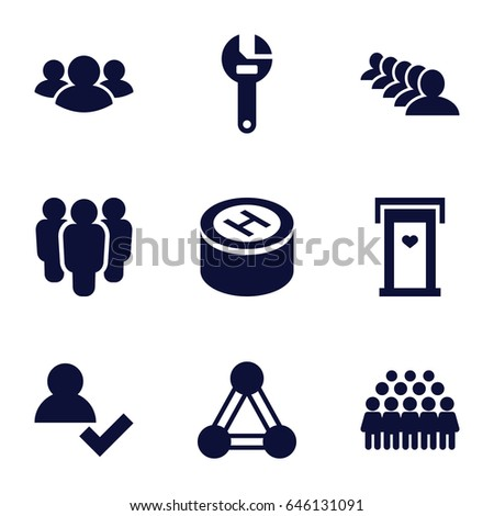 Community icons set. set of 9 community filled icons such as connection, door with heart, group, wrench, hospital