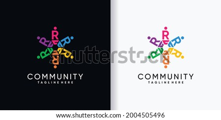 Community logo design initial letter R with creative concept Photo stock ©