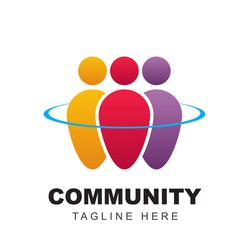 Community logo icon design with colorful people shapes. Symbol of teamwork, together, and group human concept vector illustration can use for company branding, discussion forum, social network, team