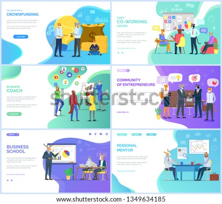 Community of entrepreneurs vector, business coach and school, crowdfunding hipster animals on meeting with partners. Personal mentor teacher website or webpage template, landing page flat style