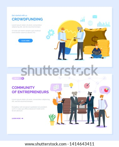 Community of entrepreneurs vector, business partners hipster animals wearing formal clothes and suits. Crowdfunding meeting of koala colleague. Website or webpage template, landing page flat style