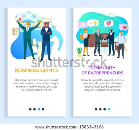 Community of entrepreneurs vector, hipster animals on meeting business giants bear and tiger, boss and secretary fox, koala conversation. Website or slider app, landing page flat style