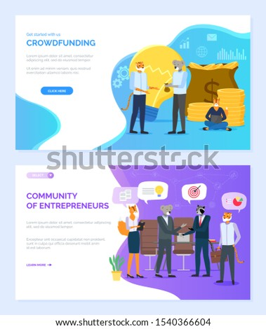 Community of entrepreneurs vector, hipster animals on meeting crowdfunding, pile of money in bags, lightbulb, fox and raccoon, koala set. Website or webpage template, landing page flat style